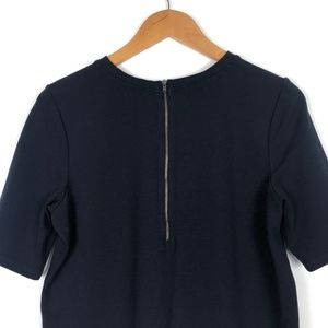 Theory Tops - Theory Navy Ponte Knit Zip Back Cropped Top